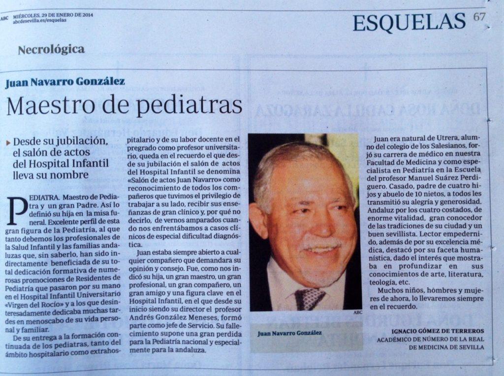 DIARIO ABC 29/01/2014. GLOSA AL DR JUAN NAVARRO